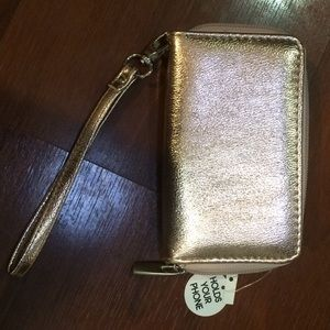 Rose gold shiny cell phone wallet clutch wristlet